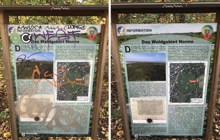 WiQ, Waldweg, Schild 4, dreckig und sauber