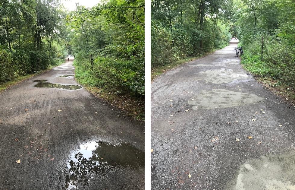 Waldweg vor und nach der Aktion